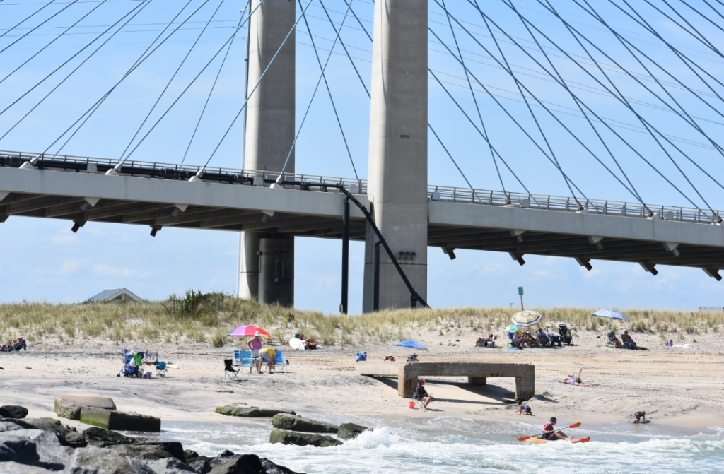 northside beach, indian river inlet, delaware, sussex county, charles w cullen bridge, iri, indian river inlet bridge, coast guard tower base, sand relocation,