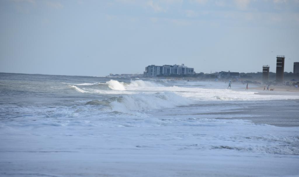 hurricane dorian, waves, surf fishing, cape henlopen state park, rehoboth beach, delaware, sussex county,